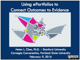 Dr. Helen Chen's Presentation: Winter '16 Carnegie